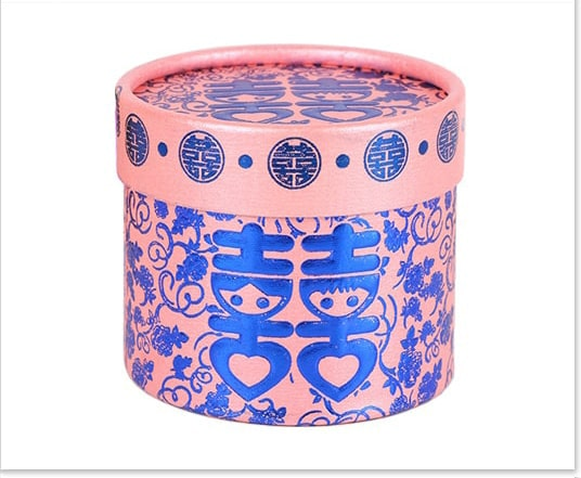 Chinese Wedding Favor Box with Blue Foil Stamping